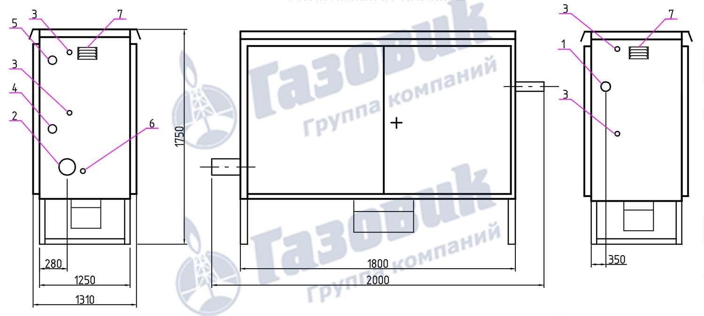 Газорегуляторный шкафной пункт ГСГО-МВ-50 на базе РДБК-1-50