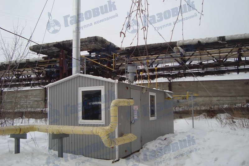 Модульная котельная ТКУ-600 с дымовой трубой на растяжках в городе Ижевск.